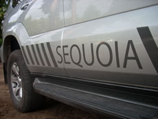 van branded with Sequoia, Landscape Designers Farnham